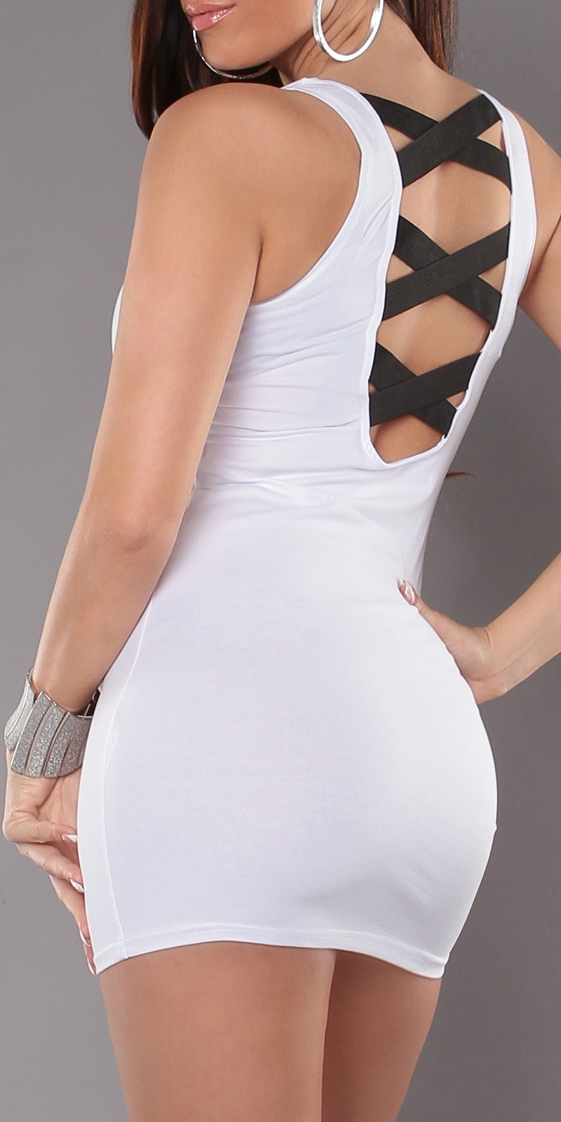 White Sexy Criss Cross Straps Back Dress