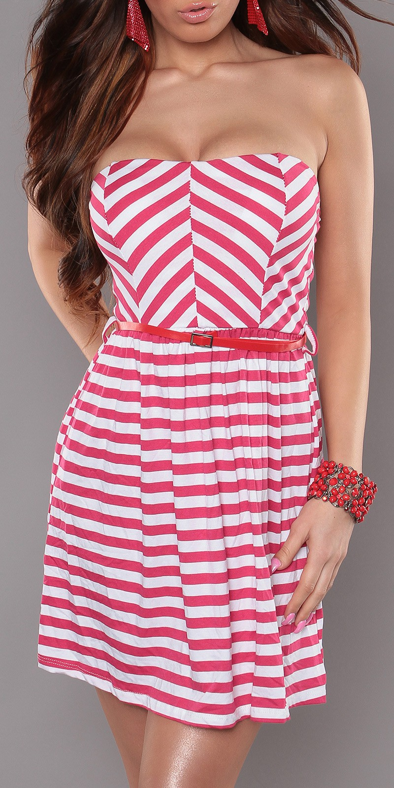 Fuchsia Strapless Striped Dress With Red Belt