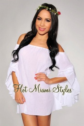 White Gauze Off-The-Shoulder Dress