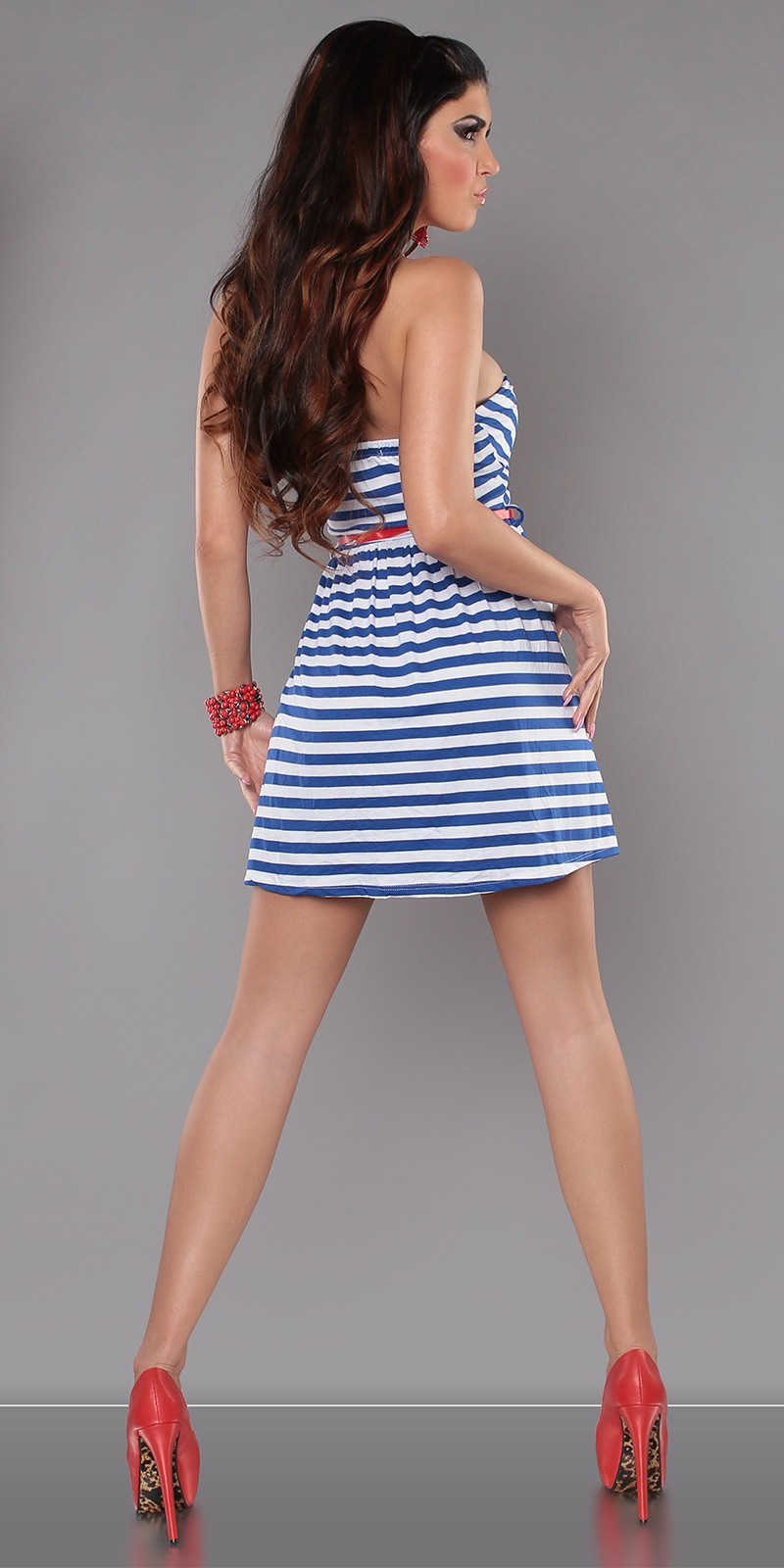 Blue Strapless Striped Dress With Red Belt