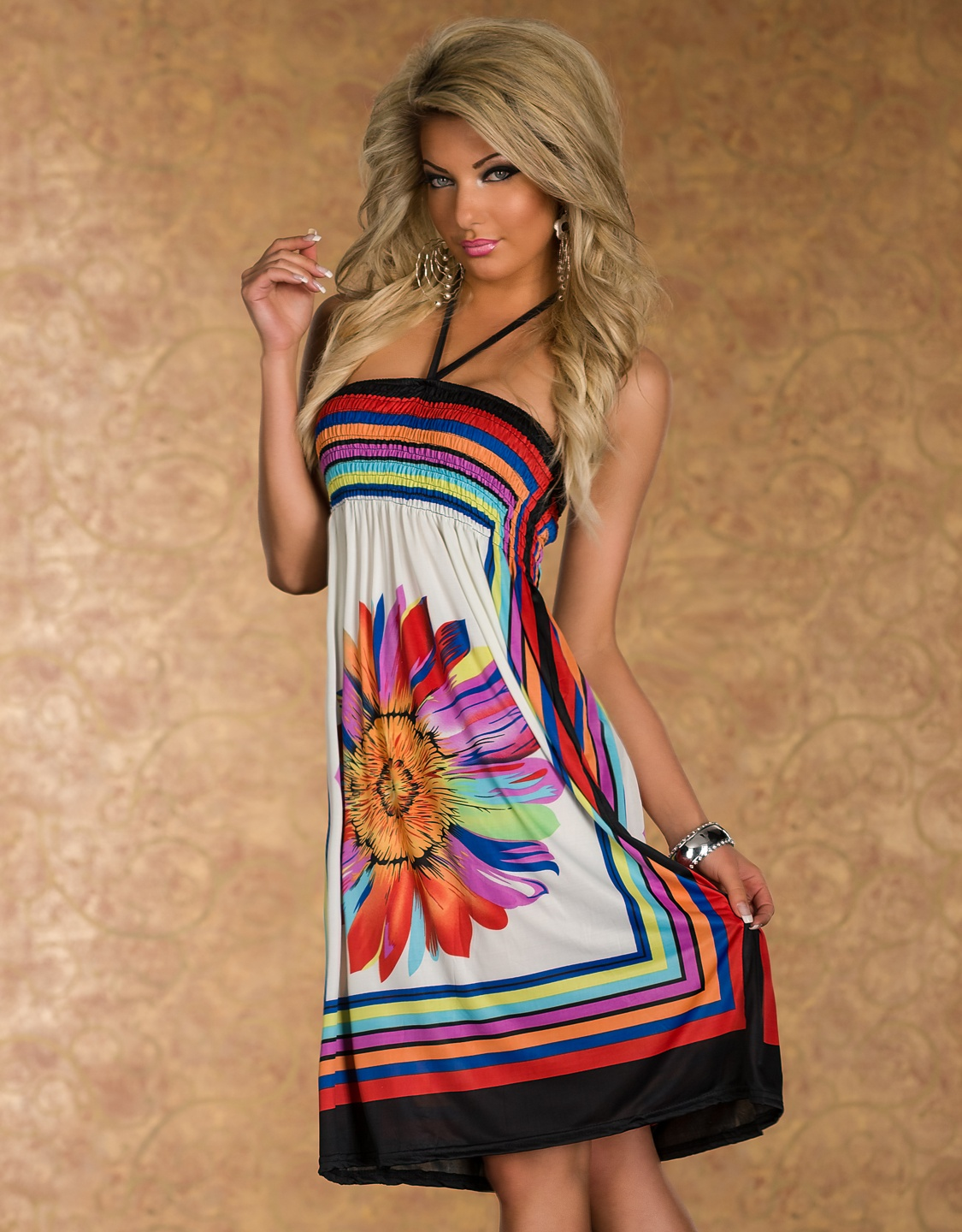 White Flower Print Multicolor Stripes Summer Dress