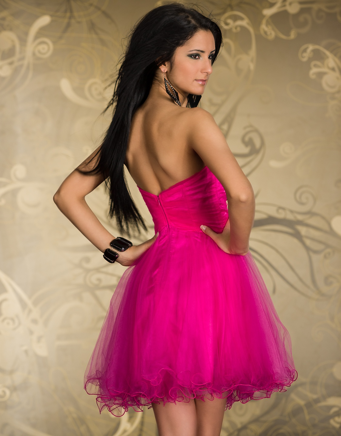 Pink Short Puffy Strapless Prom Evening Dress