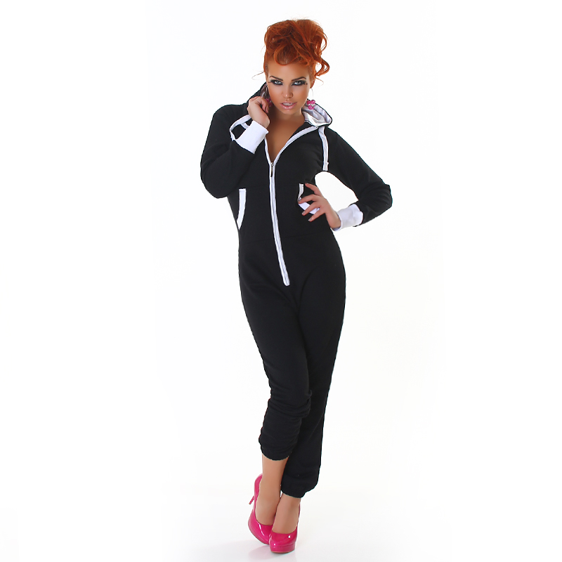 Black Long Sleeves Jumpsuit With White Details