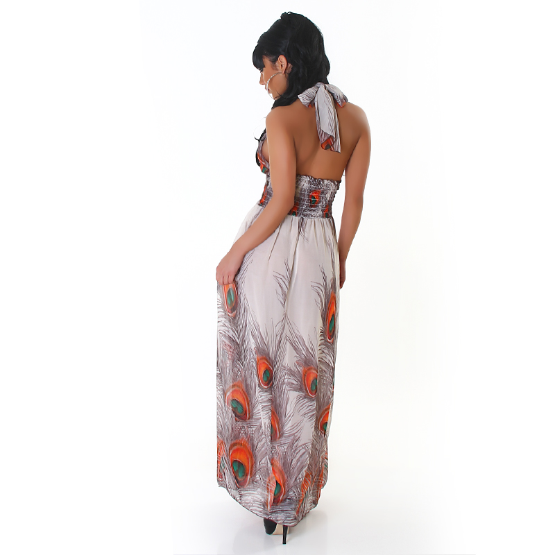 Grey-Orange Long Dress With Peacock Print