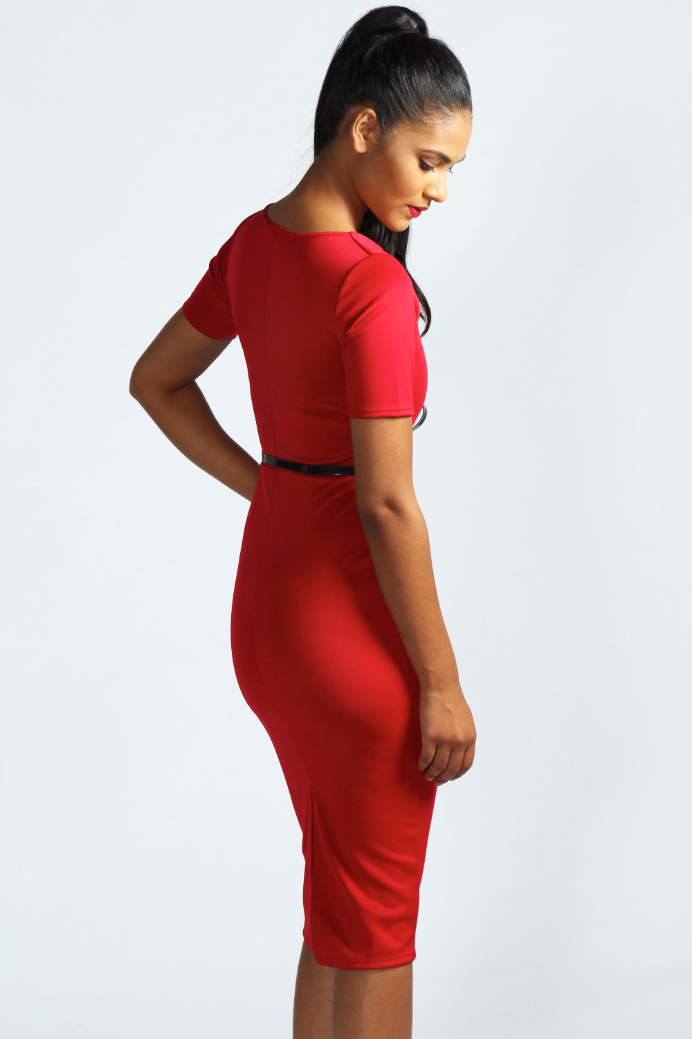 Red Renee Square Neck Bodycon Dress