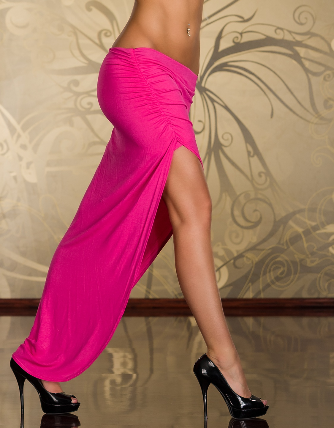 Pink Asymmetric High-Low Draped Long Skirt