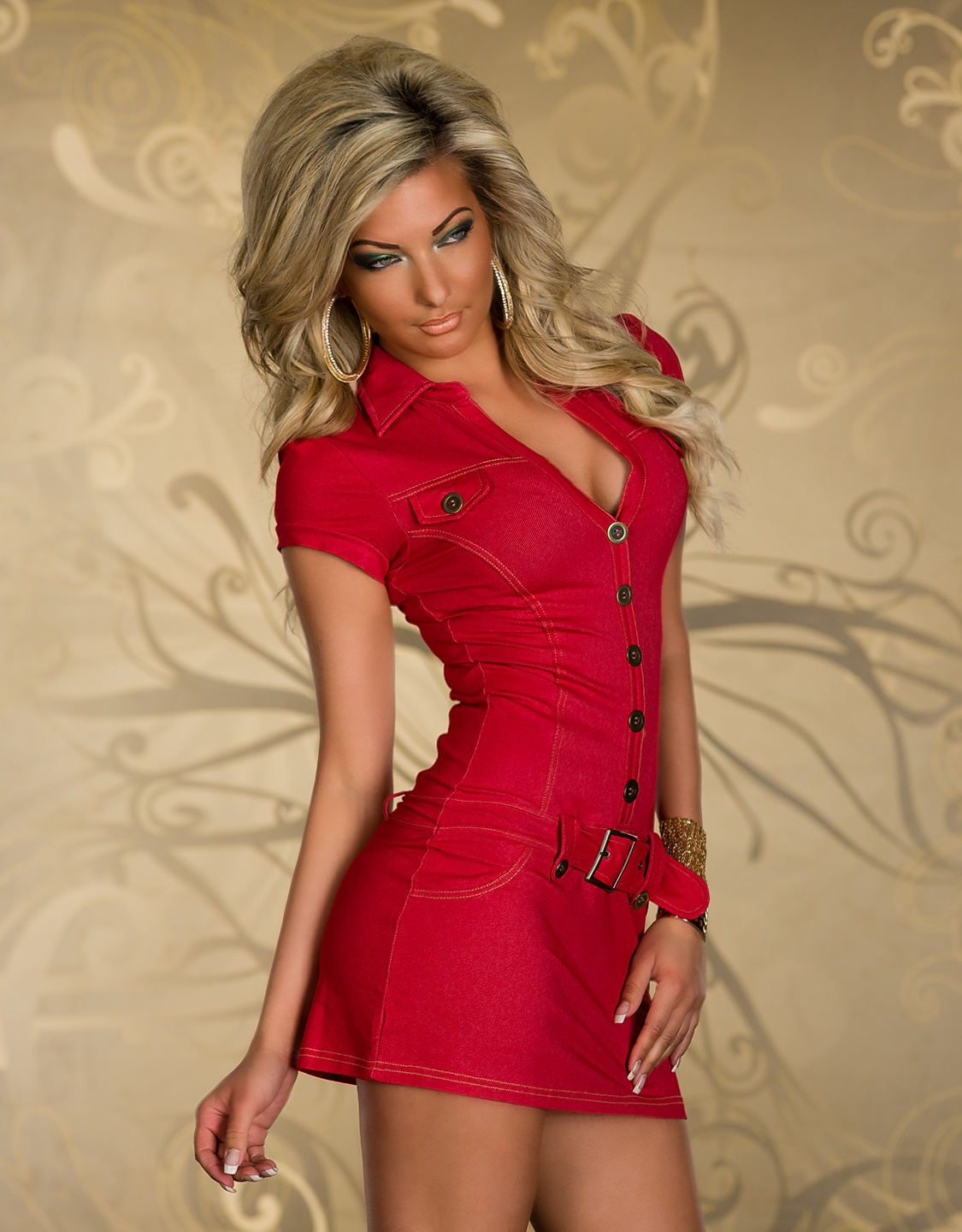 Red Buttoned Belted Dress With Collar