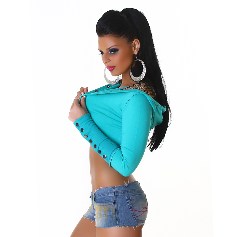 Turquoise Hooded Bolero With Leopard Lining