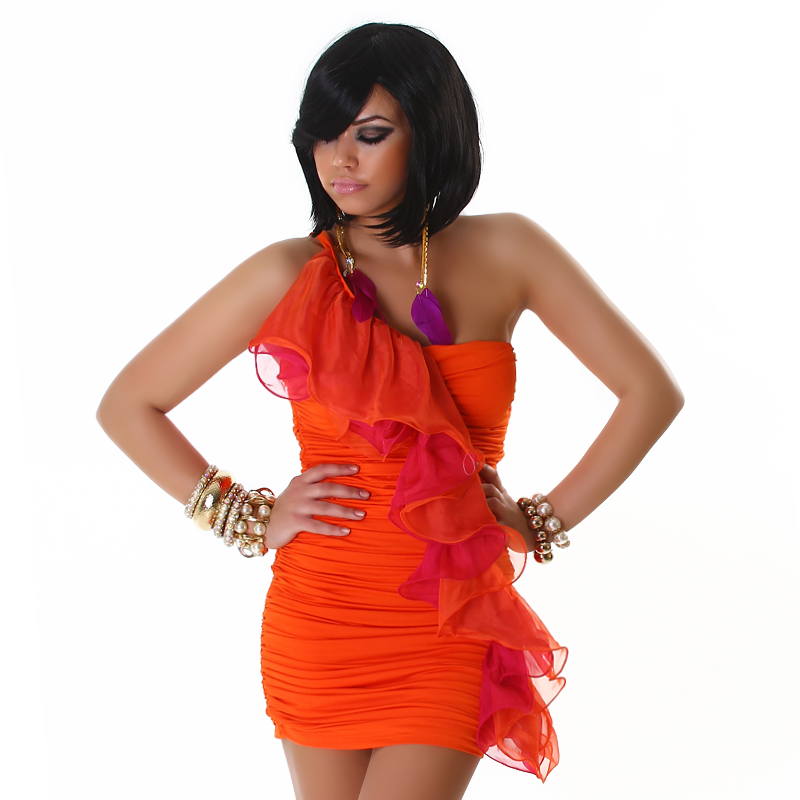 Orange Dress With Diagonal Double Frill