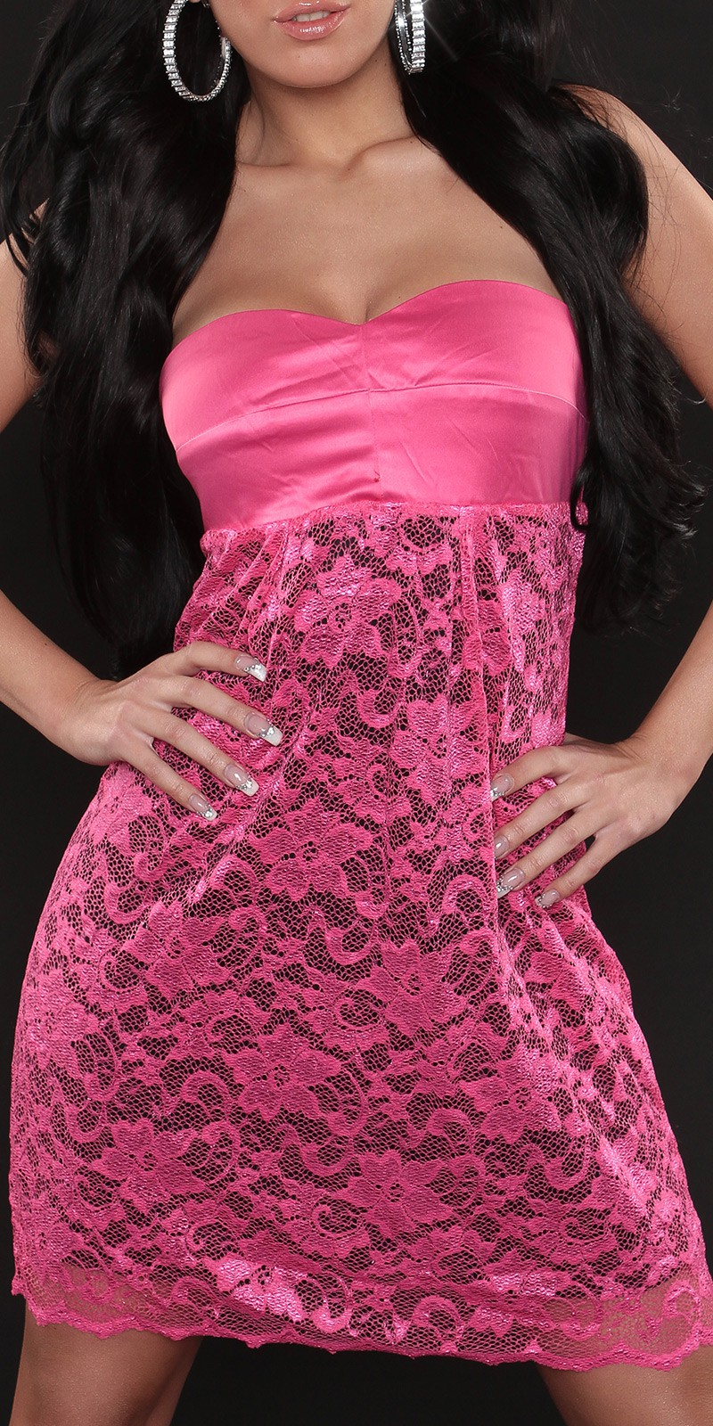 Fuchsia Strapless High Waist Line Lace Dress