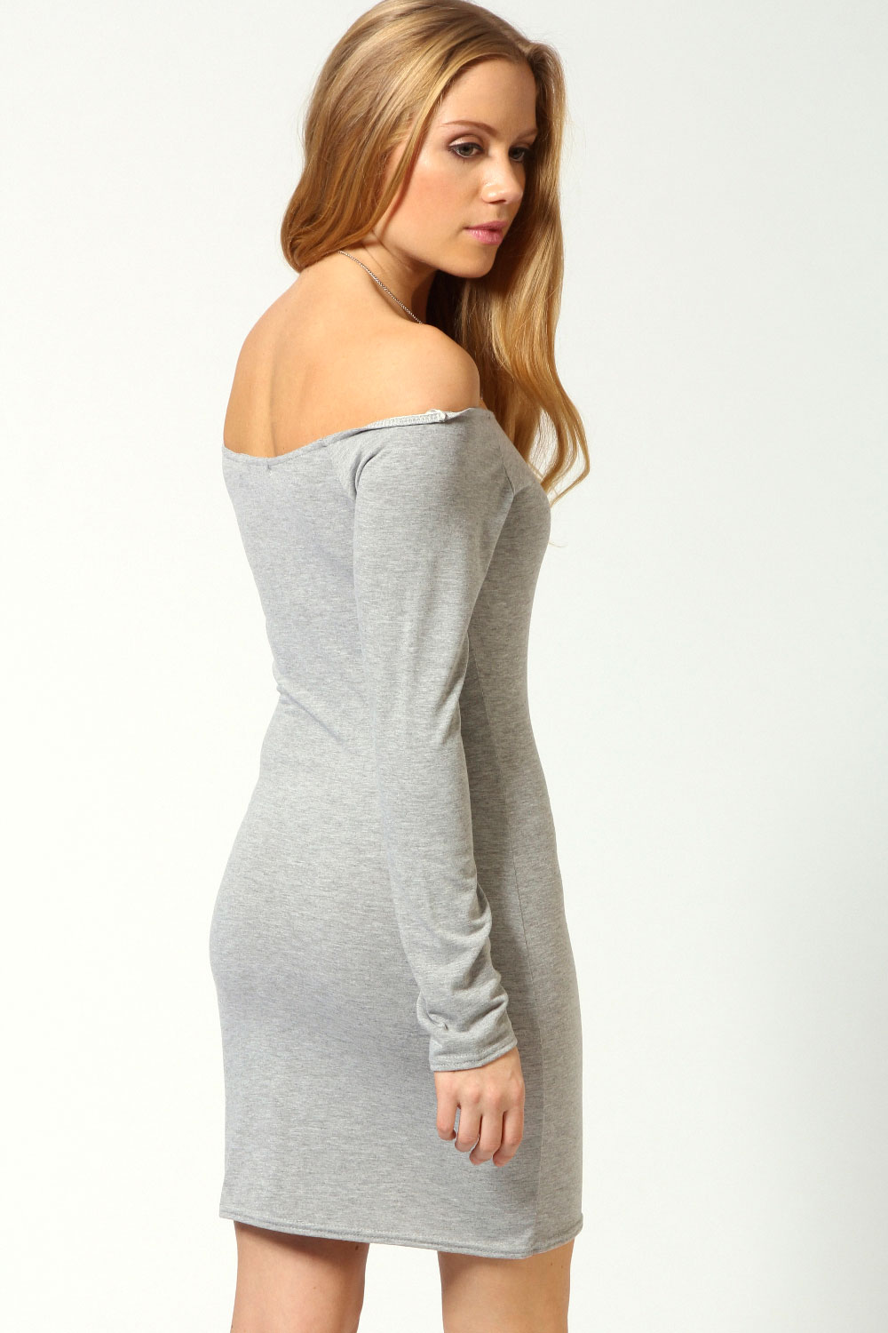 Navy Alice Off The Shoulder Long Sleeve Bodycon Dress