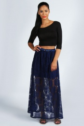 Navy Katie Belted Lace Maxi Skirt