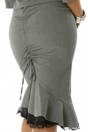 Grey Midi Skirt With Frill And Lace