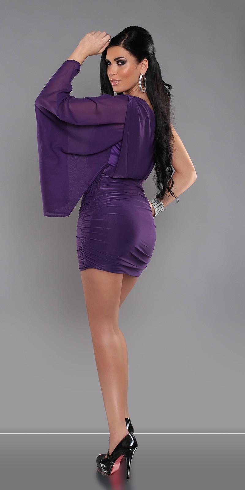 Purple Sexy KouCla One-Arm Minidress