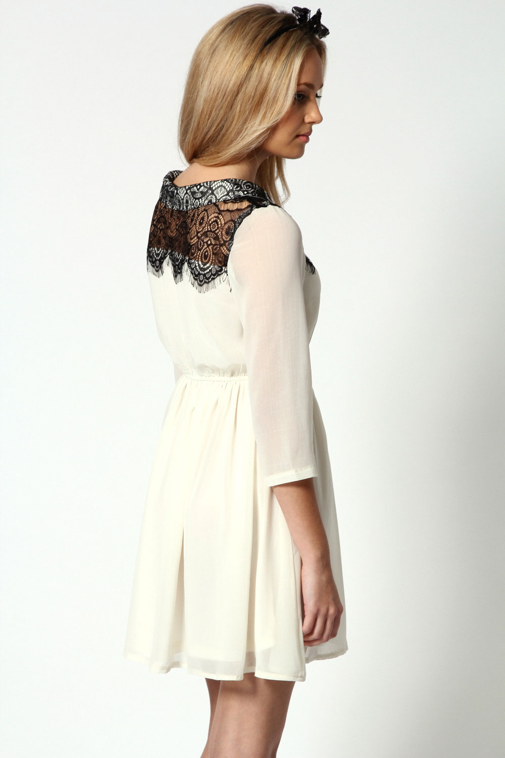 Winny Lace Top Contrast Chiffon Dress