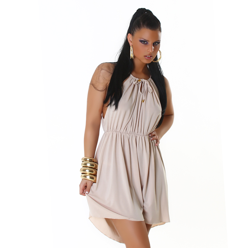 Cream Sleeveless Summer Sun-Dress