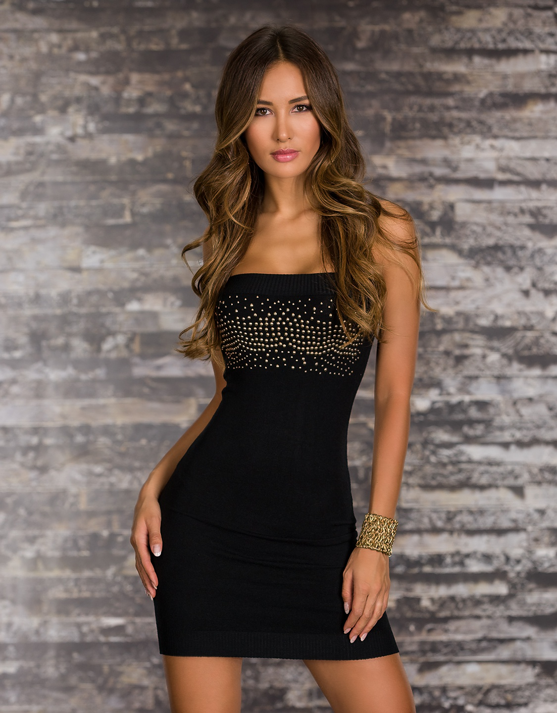 Black Strapless Studded Short Knitted Dress