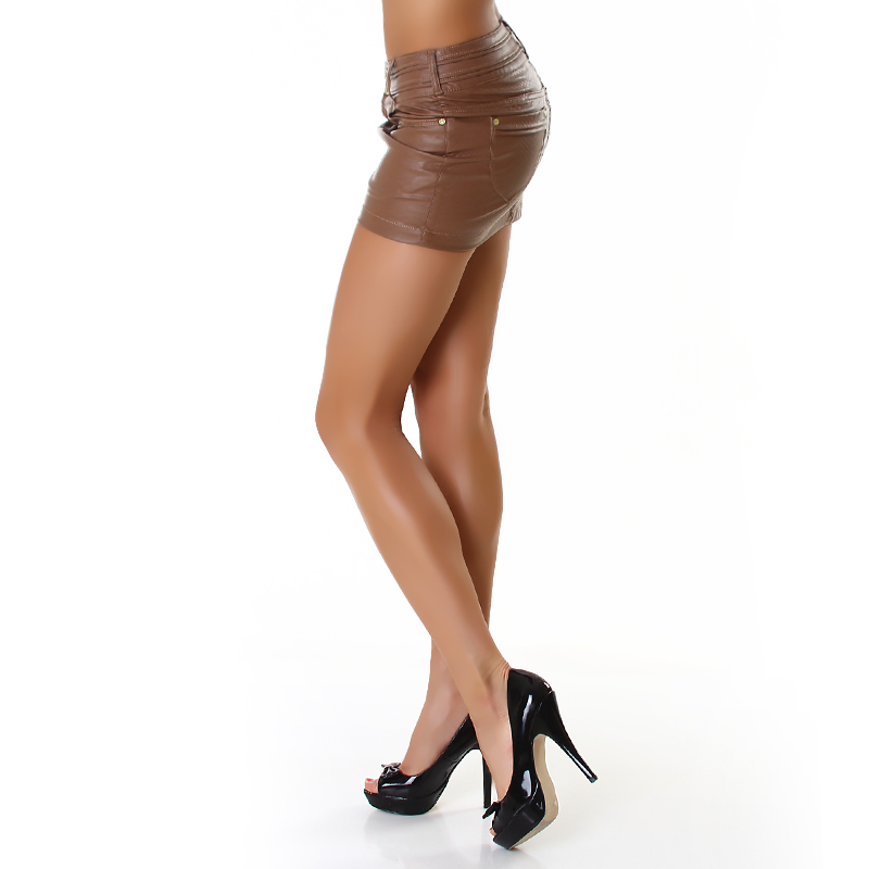 Sexy Caramel Faux Leather Mini Skirt