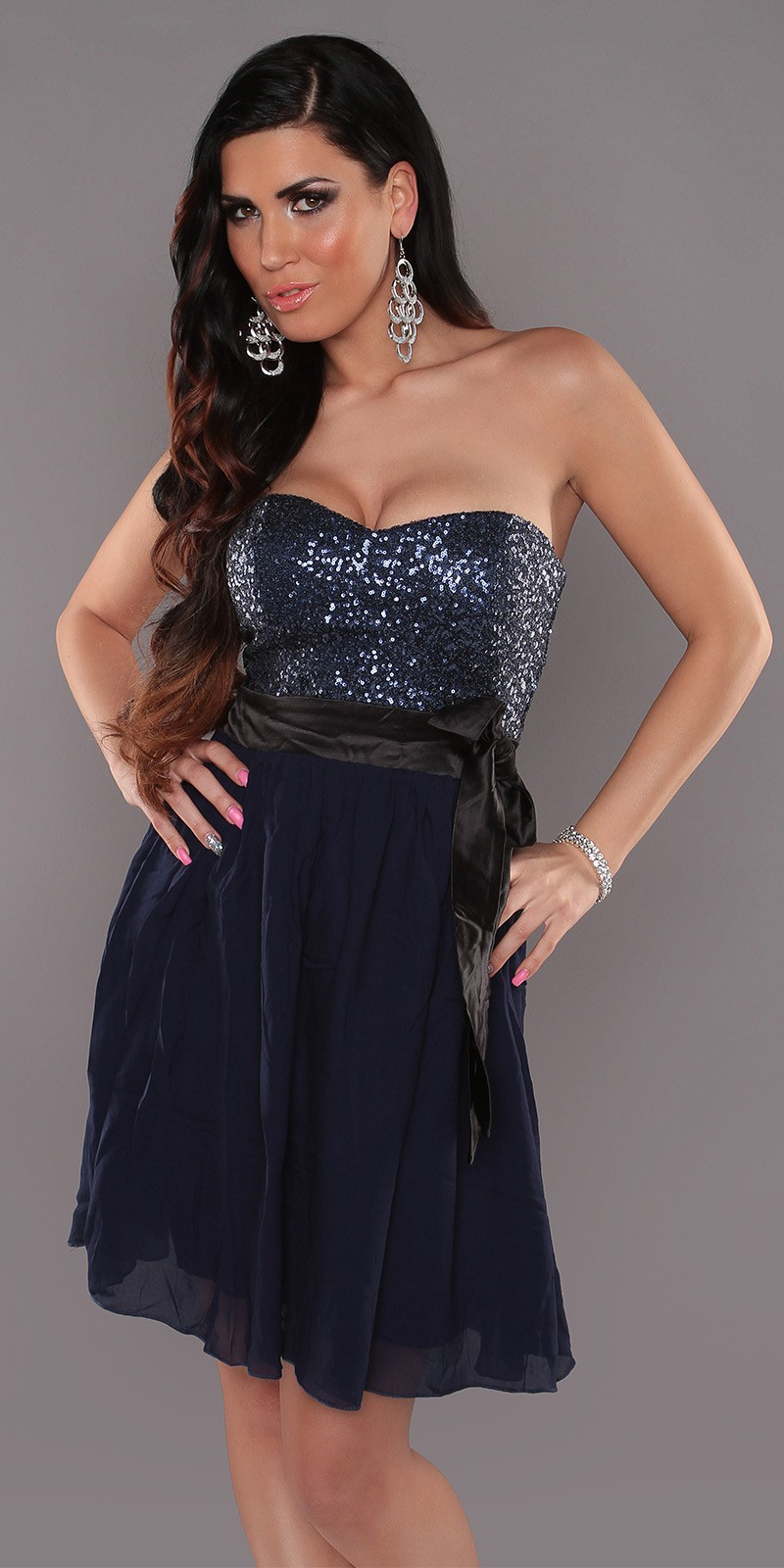 Marine Sexy Bandeau Dress With Sequins And Loop