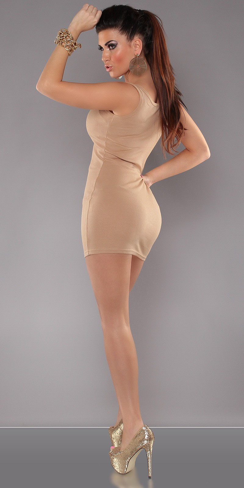 Cappuccino Sexy Minidress With Zipper