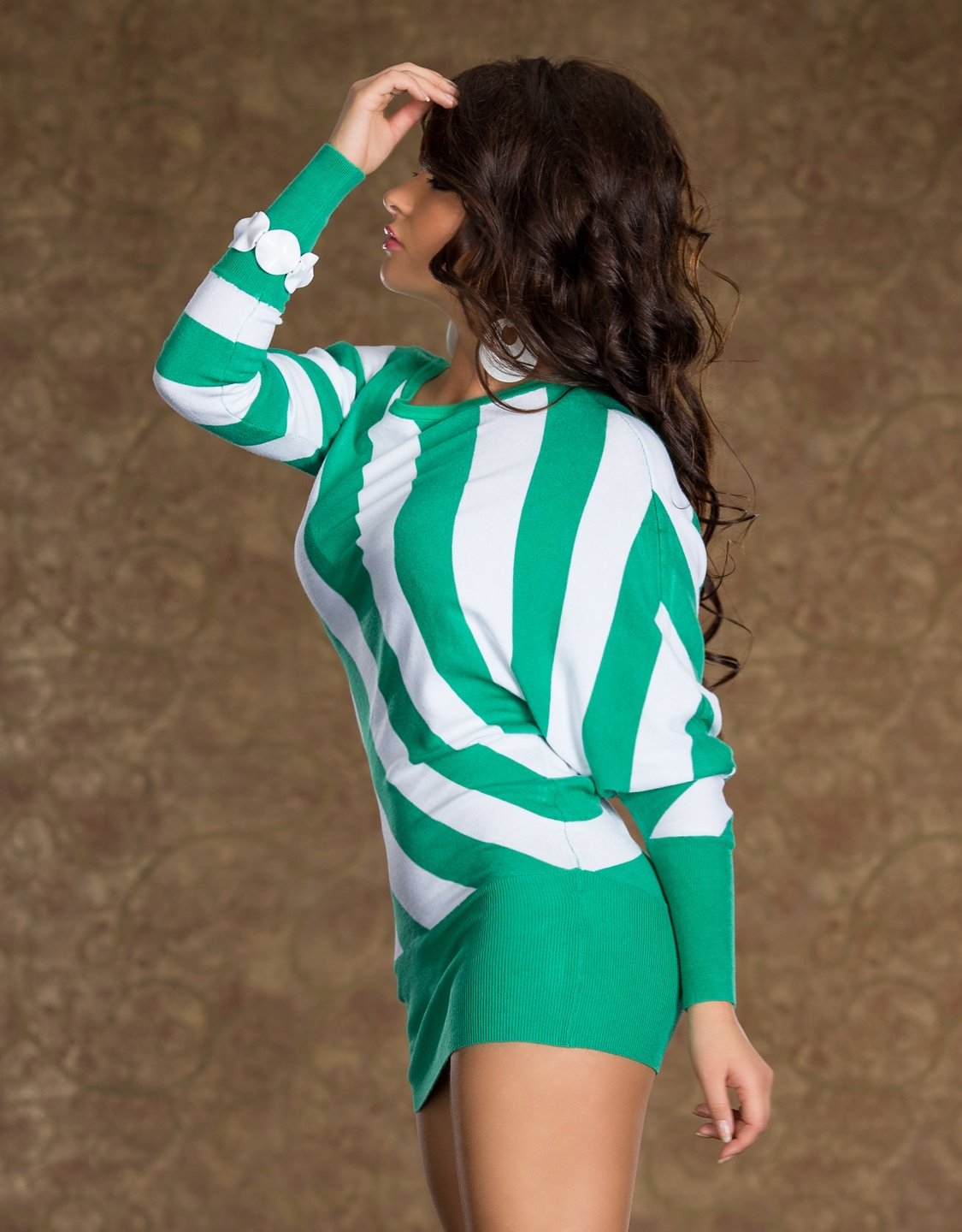 Green-White Striped Knitted Sweater Dress