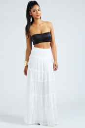 White Aleesha Embroidered Multi Tier Maxi Skirt