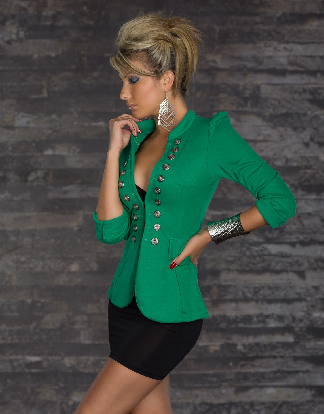 Green Army Jacket With Double Buttons & Stand-Up Collar