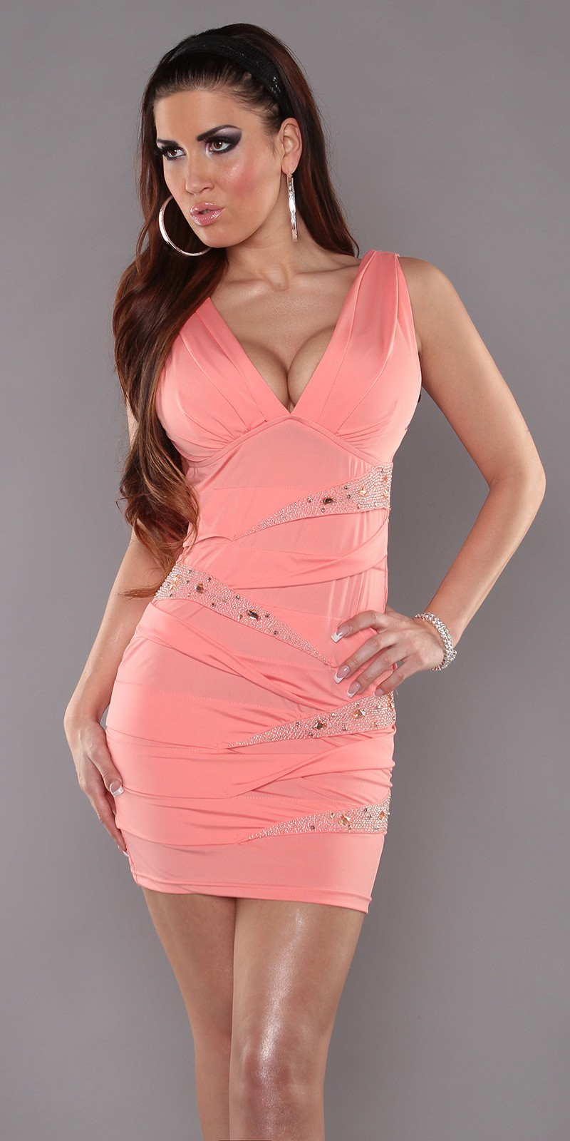 Coral V-Neck Pleated Rhinestone Insets Dress