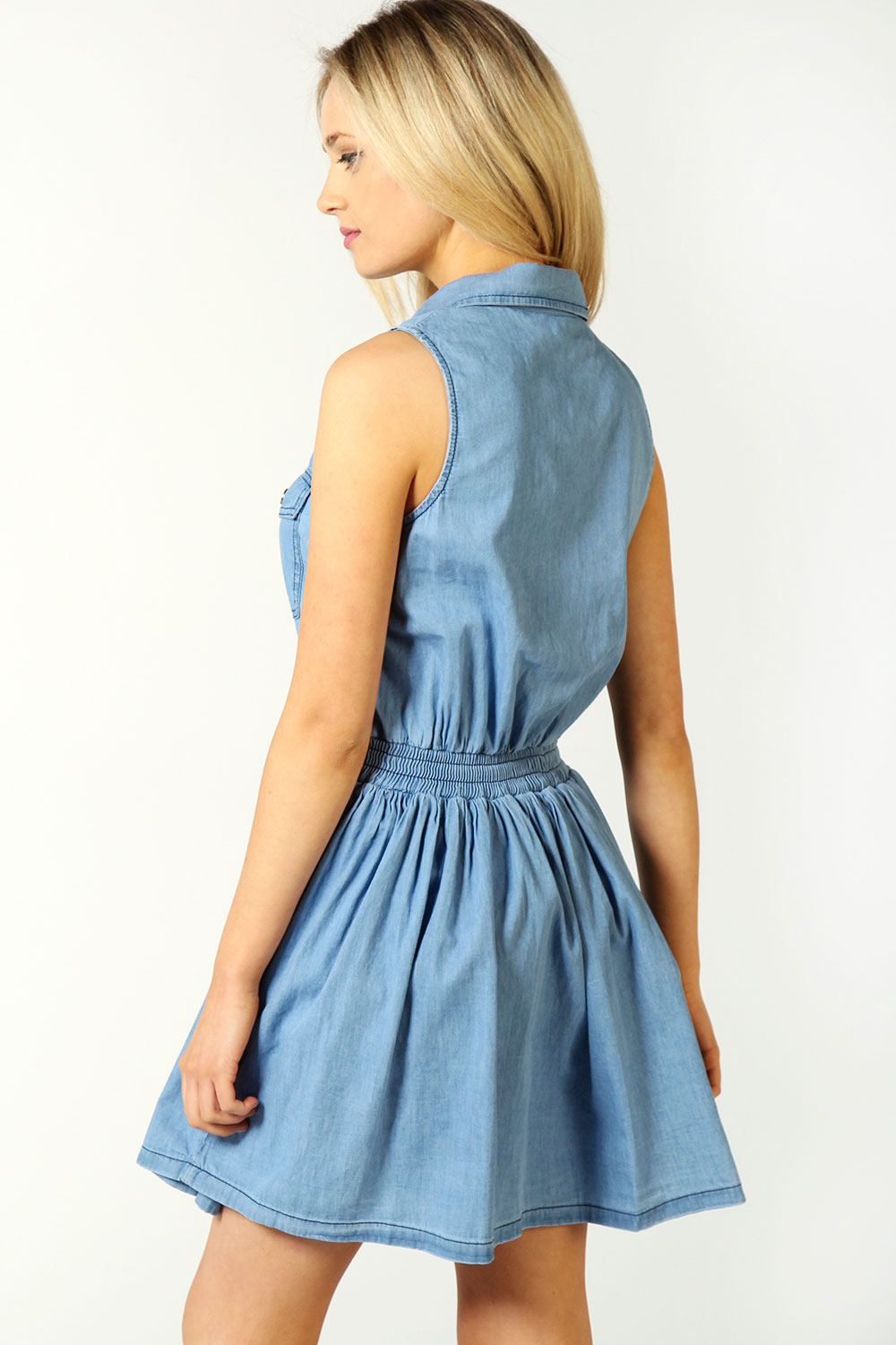 Emma Denim Button Front Skater Dress