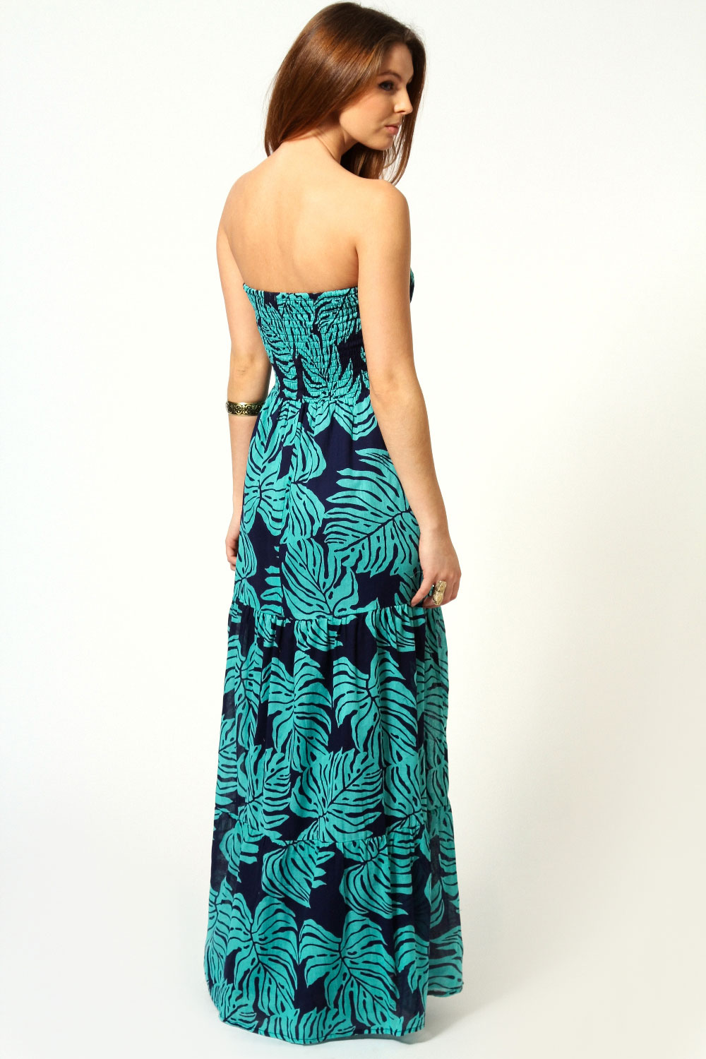 Turquoise Izzy Shirred Tiered Cotton Maxi Dress