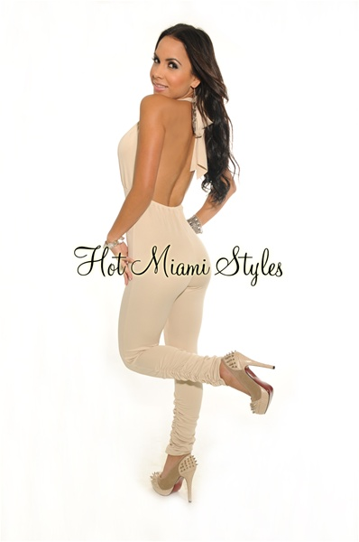 Cream Deep V Neck Halter Jumpsuit