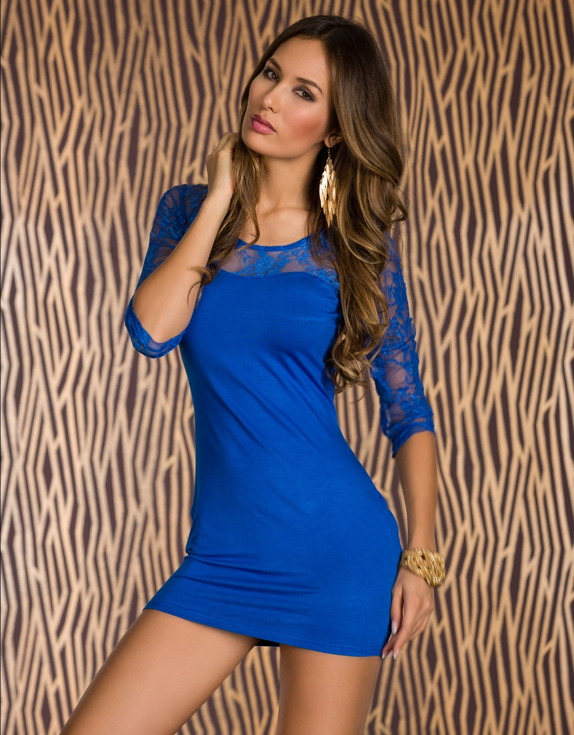 Blue Lace 3/4 Sleeves Short Dress