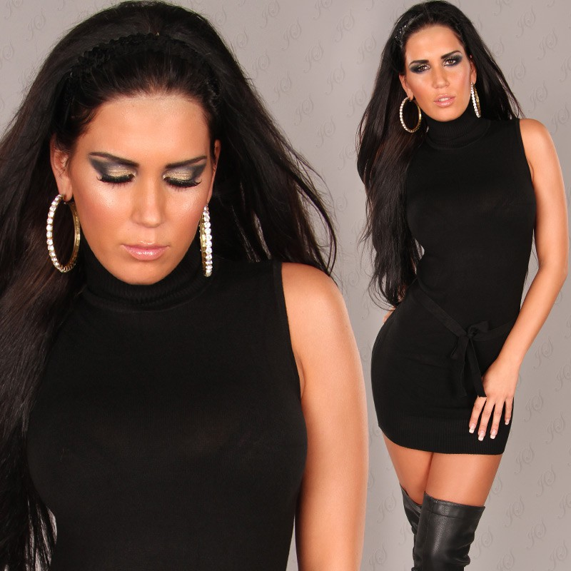 Black Sexy Turtelneck Longsweater-Minidress With Belt