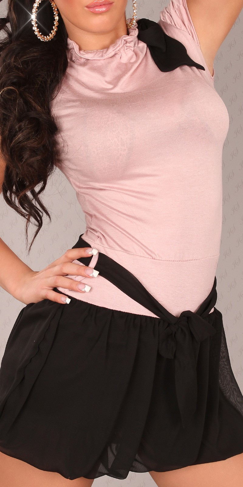 Pink Short Sleeves Bubble Skirt Belted Dress