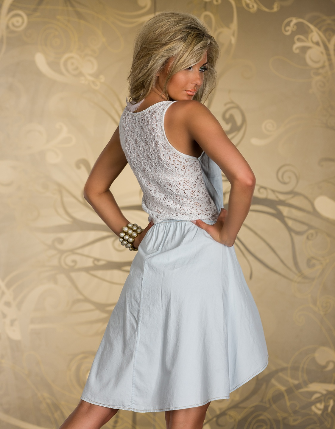 Light-Blue Jeans High-Low Summer Dress With Lace Back