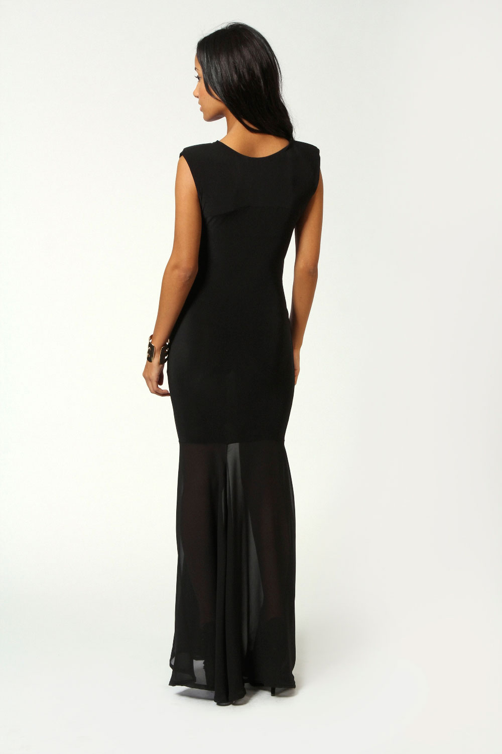 Black Eva Crossover Front Fishtail Maxi Dress
