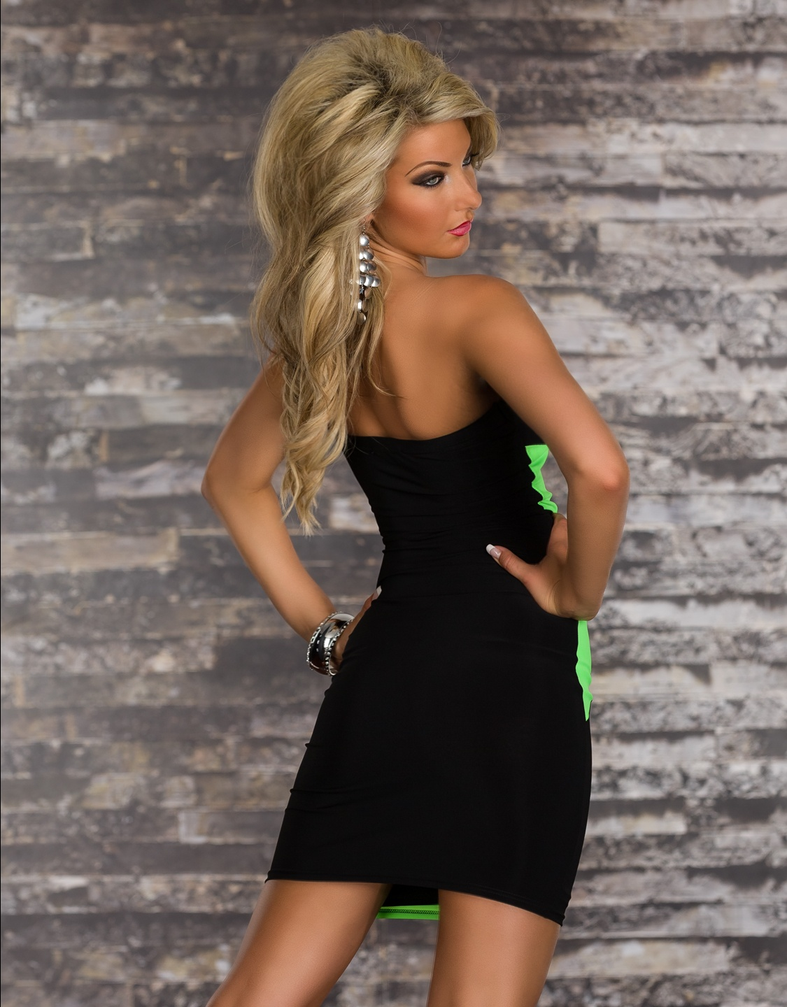 Black-Green Strapless Striped Dress With Sequined Embroidery