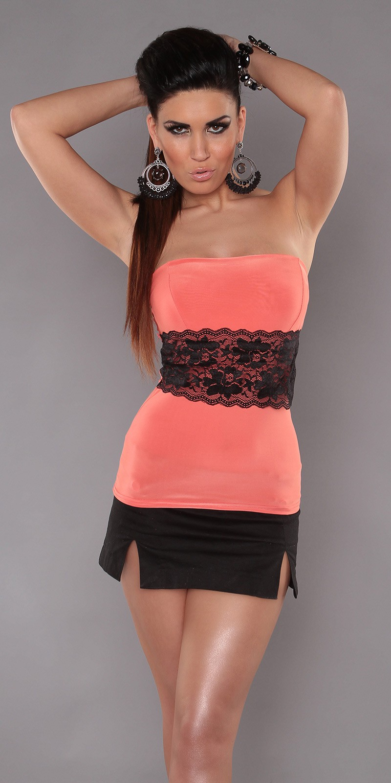 Coral Sexy Strapless Top With Lace Waistband