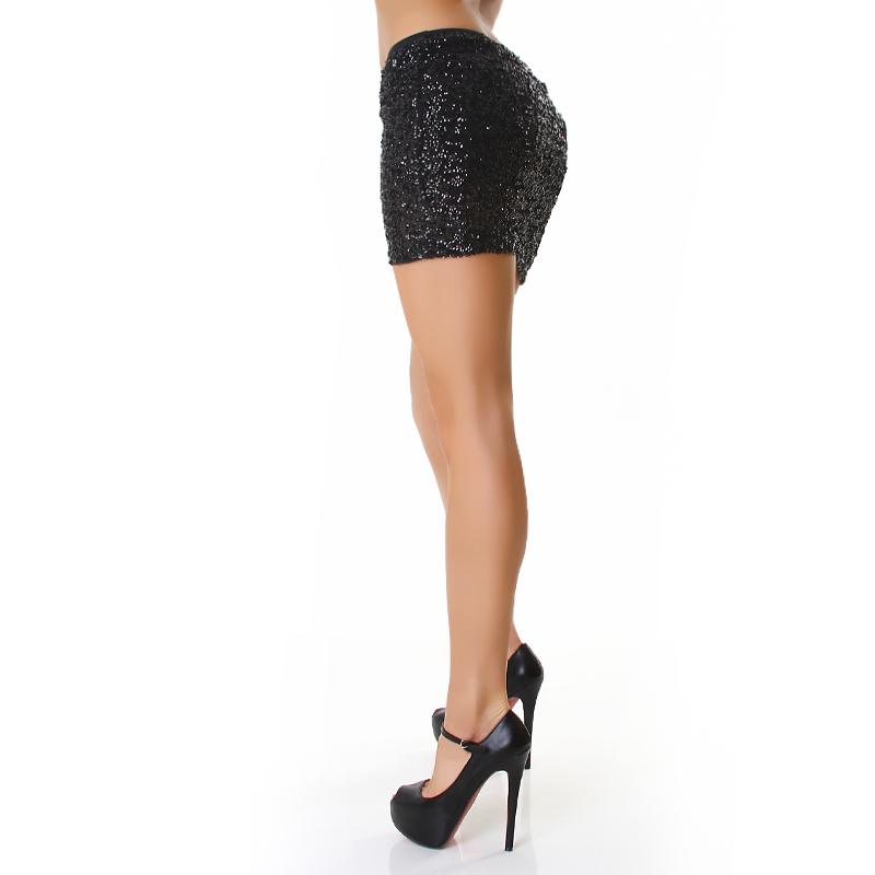 Sexy Black Sequined Mini Skirt