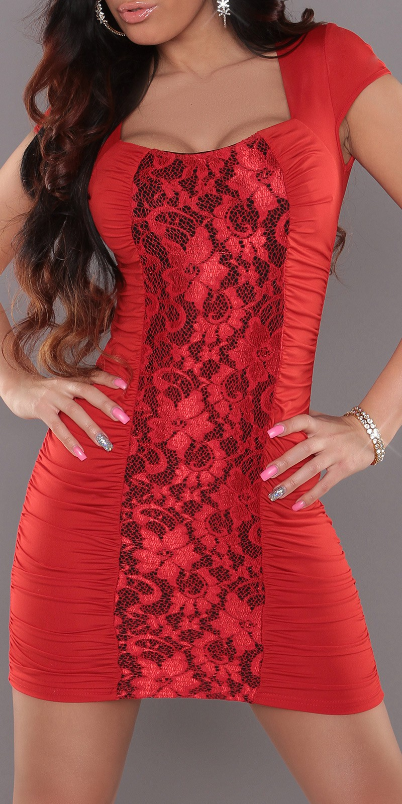Red Square Neck Dress With Lace Insert
