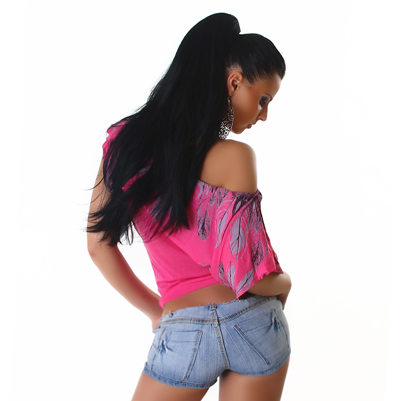 Pink Off-Shoulder Top With Feather Print