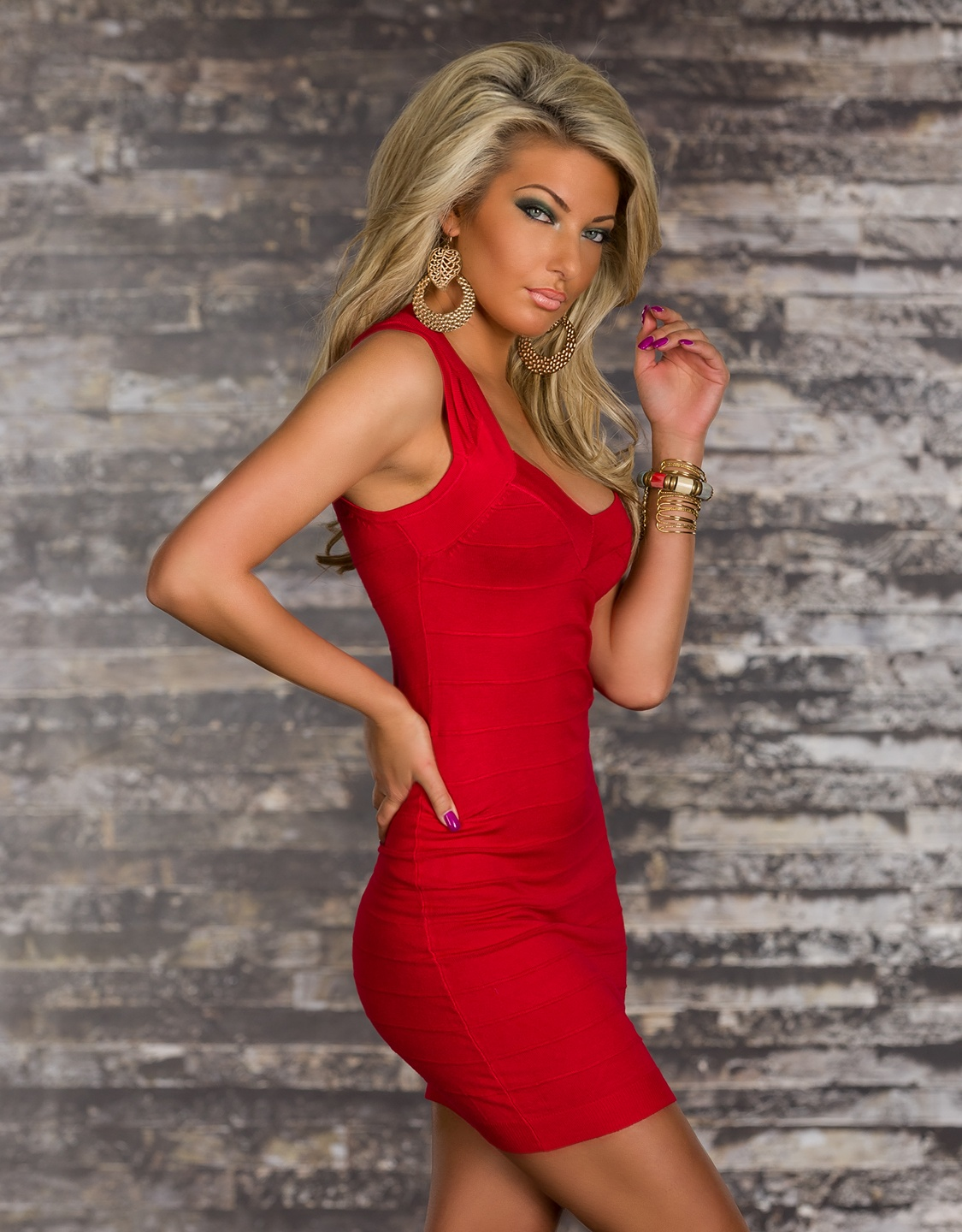 Red Bodycon Short Bandage Dress With Short Sleeves