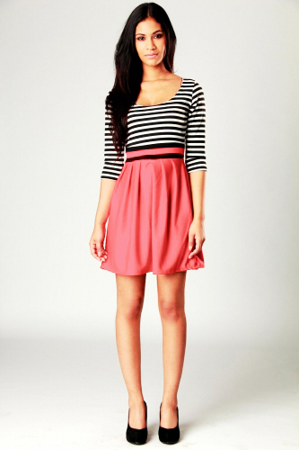 Lulu Striped 3/4 Sleeve Fit And Flare Dress