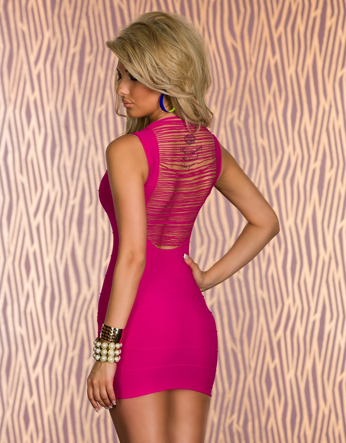 Pink Fringe Back Sleeveless Bandage Dress