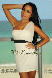 White Mesh Draped One Shoulder Strapless Dress