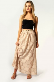 Ivory Katie Belted Lace Maxi Skirt