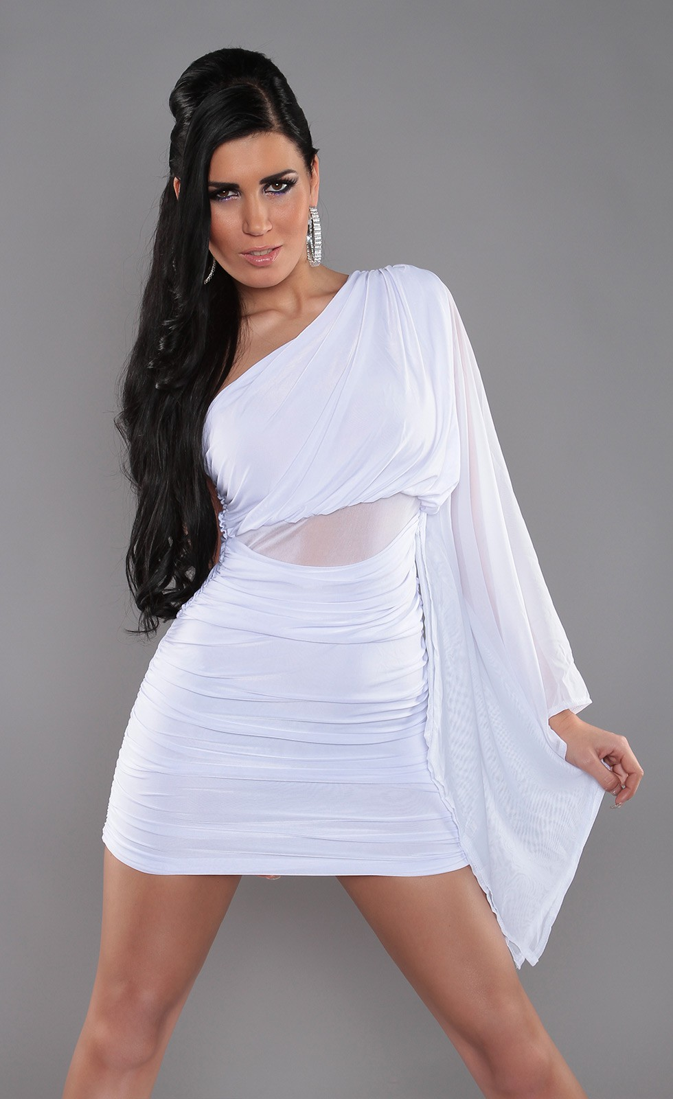 White Sexy KouCla One-Arm Minidress