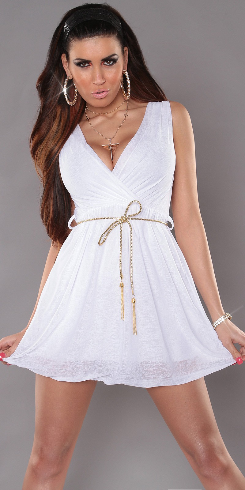 White Sexy KouCla Minidress With V-Neck Snd Belt