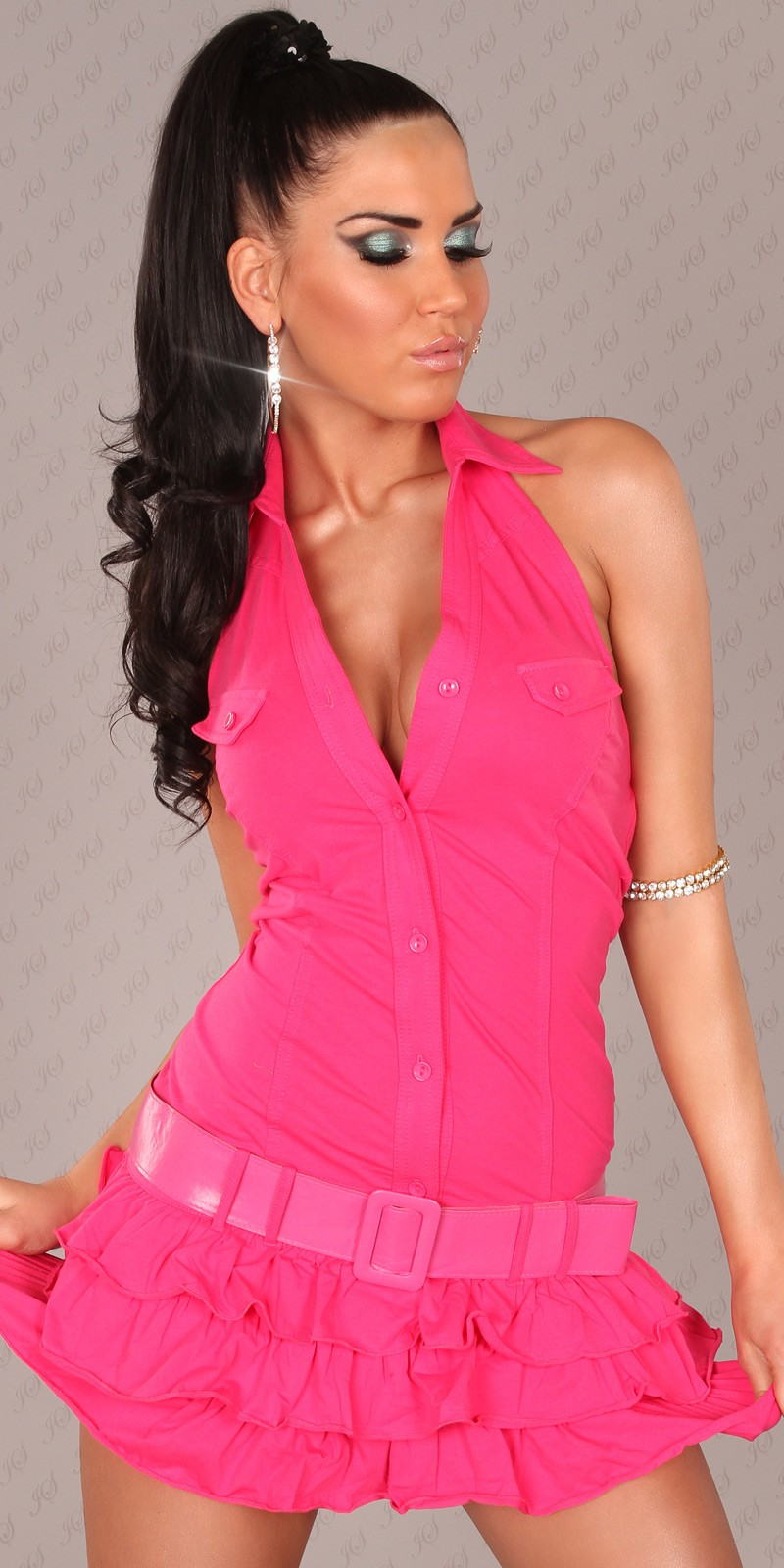 Fuchsia Ruffled Mini-Dress With Belt
