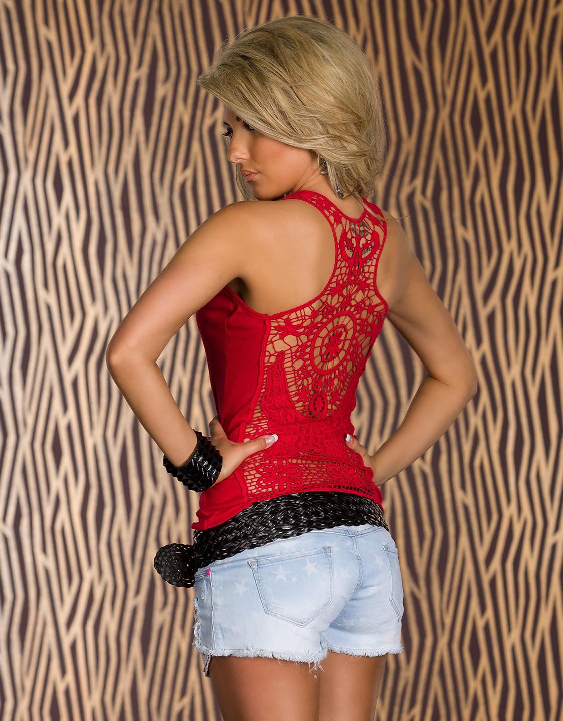Red T-shirt With Lace Racer-Back